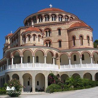 View towards the big church of Agios Nektarios
