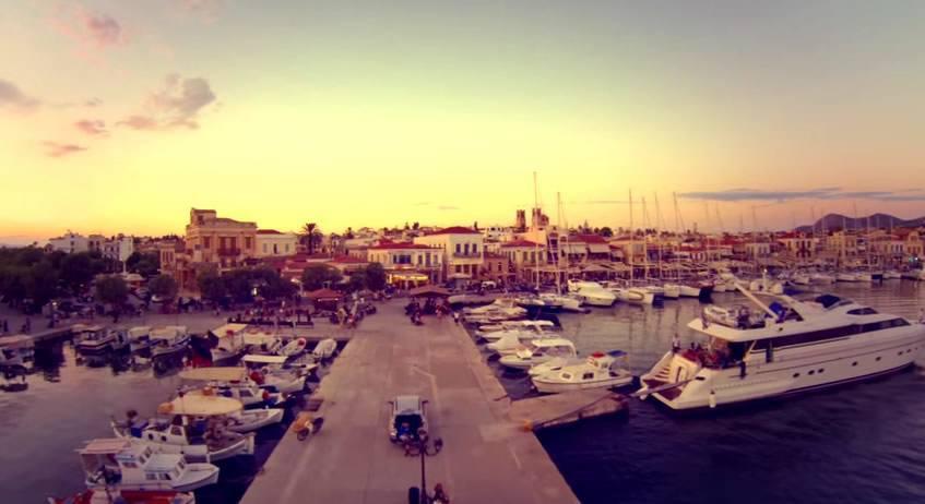 Arial view of Aegina port