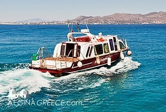 Takis water taxi leaving Agistri heading towards Aegina island