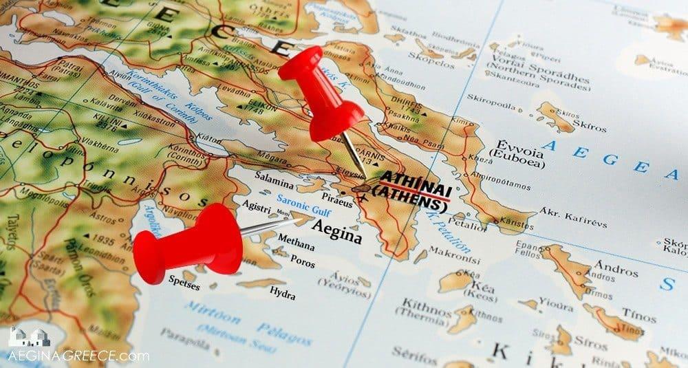Aegina island on map AEGINAGREECEcom