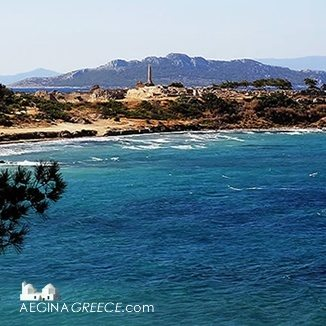 View towards the Kolona on Aegina island in Greece