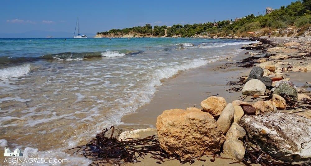 Aegina beaches Kolona beach side sea view - AEGINAGREECE.com
