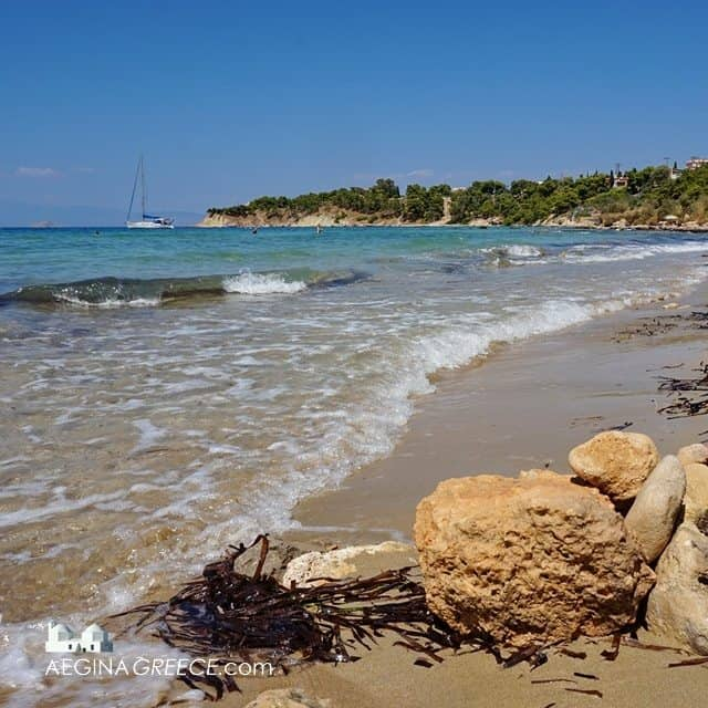 The Kolona beach on Aegina island in Greece