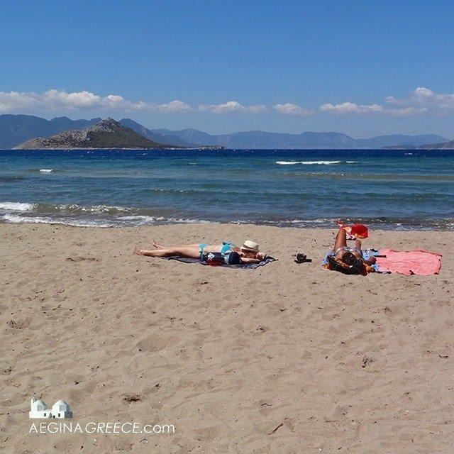 Sunbathing on Marathonas B on Aegina island