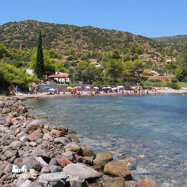 Portes beach quiet beach on Aegina