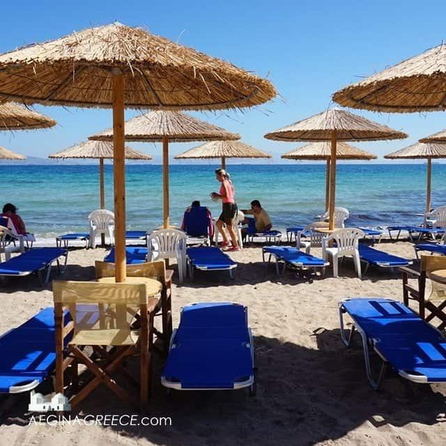 The beach at Vagia on Aegina island