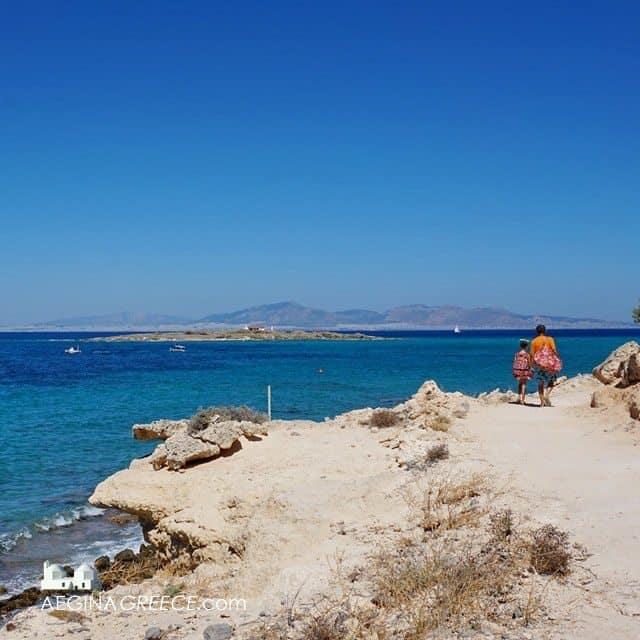 The quiet Vagia Tourlos beach area on Aegina island