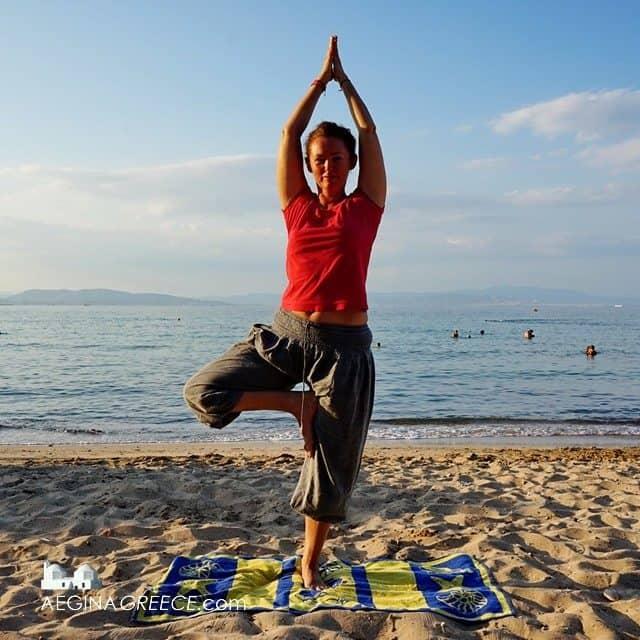 Yoga on the beach Aegina island