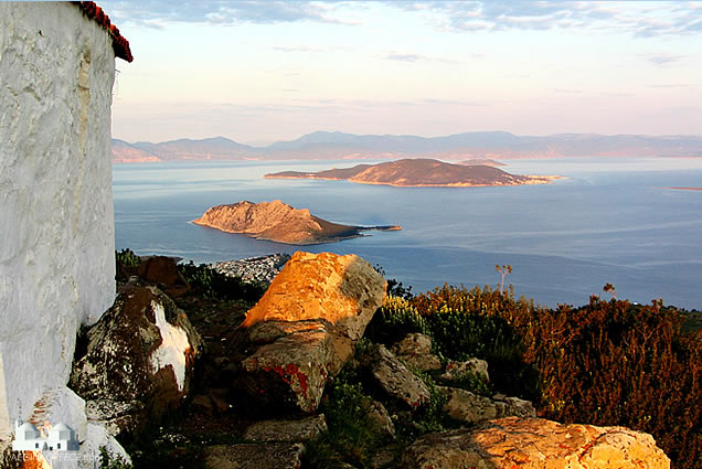 Sunrise view from Mount Oros towards Moni island and Agistri
